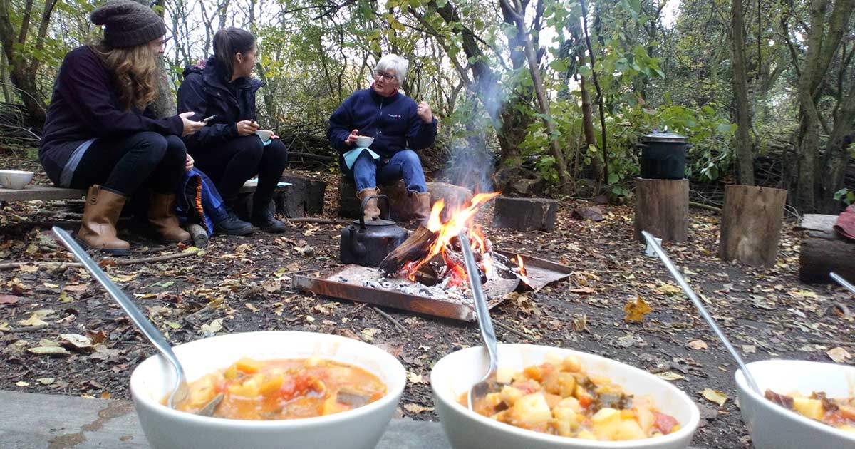 Skelton Grange Green Gym cooking in a woodland