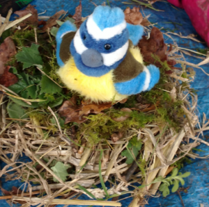 Making bird nests at Forest School