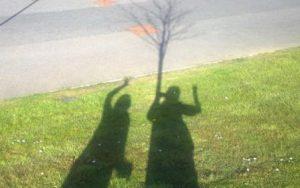 Shadow selfie of me and Carolyn