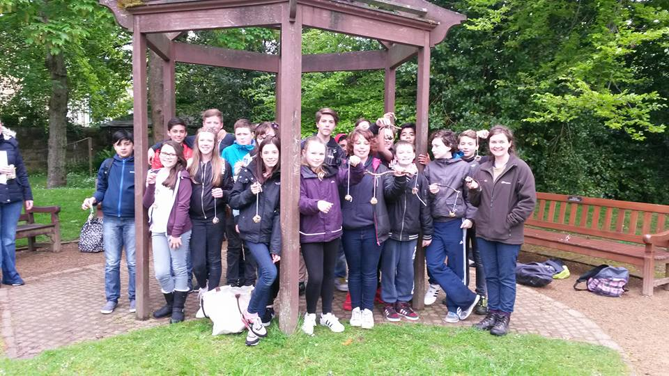 Me with a class from Hyndland Secondary and their bird feeders