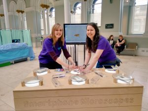 I worked with Natural Talent Trainee Rebecca at the Edinburgh Science Festival Careers Hive. We used microscopes and science experiments to engage school pupils with science and talk with them about careers in STEM.