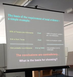 Probably my favourite slide from the course! A great example of the need for complete evidence