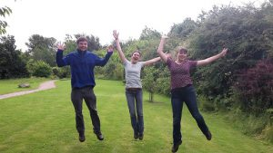 Jumping for joy with Ryan and Lorna