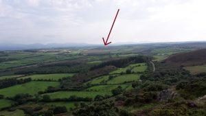Cors Erddreiniog (light brown area under arrow) and the surrounding landscape