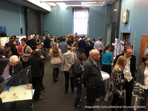 A bustling poster session at the molluscan forum