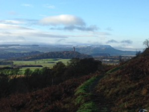 The amazing view from one of the paths....can you spot the Wallace Monument?