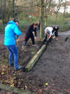 Our TCV Stirling volunteers getting tuck in creating trenches for the sleepers to sit in.