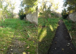 Brilliant before and after of some impressive footpath improvement at Gracemount Walled Garden