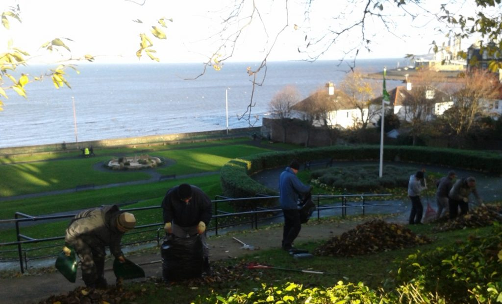 Clearing leaves with a fantastic view at Starbank Park