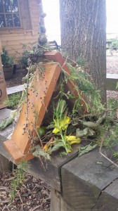 One of the bug hotels built by the students