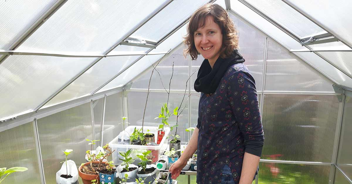 Ruth in her new greenhouse