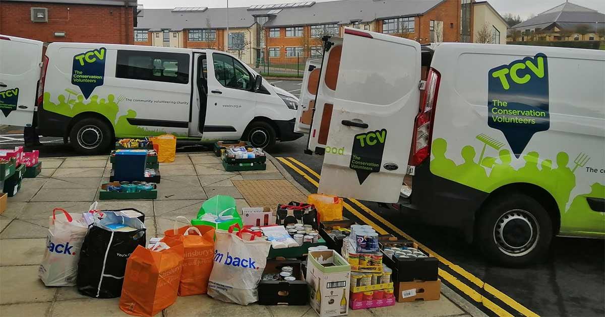 TCV vans in Belfast delivering food during lockdown