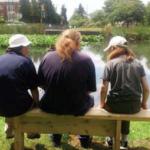 Volunteers at Sanderstead Pond, Croydon