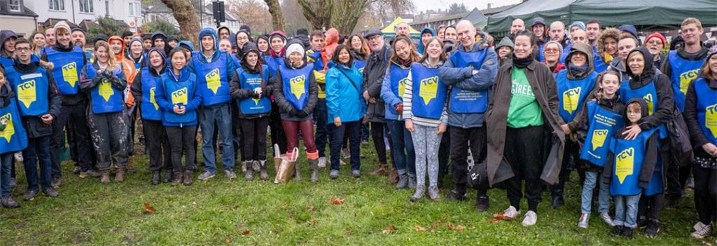 Group of volunteers wearing TCV tabards