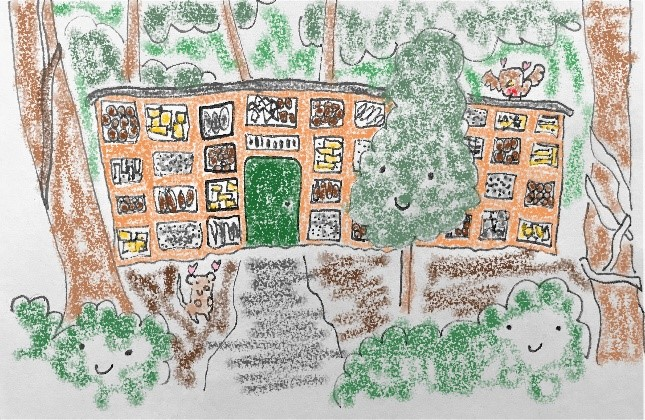 Hand drawn picture of a bug hotel demonstrating conservation traineeship