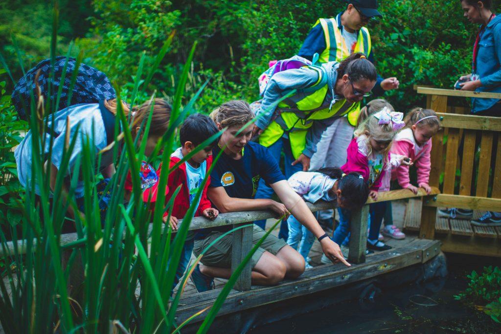 TCV Skelton Grange team pond dipping with children