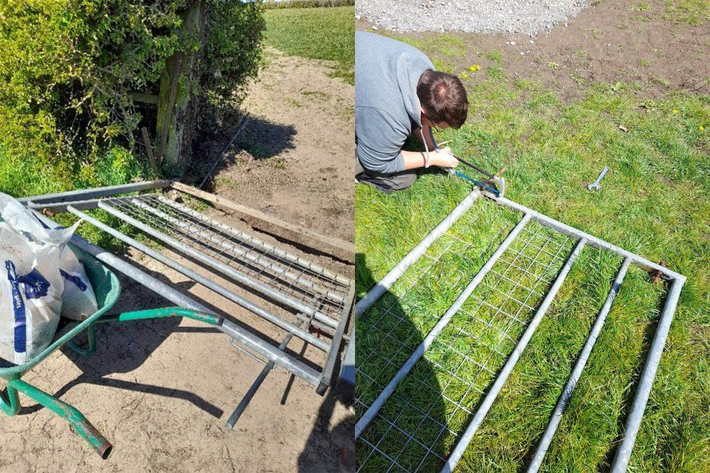Work in progress on a gate